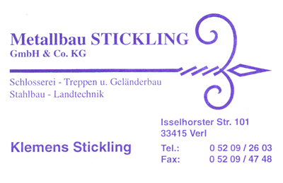Metallbau-Stickling